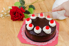 Chocolate cake with red Jelly Stock Photo