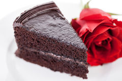 Chocolate cake with a red rose Royalty Free Stock Photography