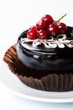 Сhocolate cake with redcurrants Royalty Free Stock Images
