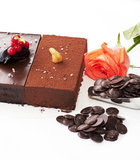Chocolate cake and rose Stock Images