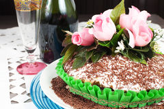 Chocolate cake with rose Royalty Free Stock Photo