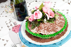 Chocolate cake with rose Stock Images