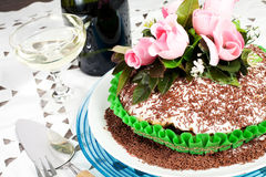 Chocolate cake with rose Stock Photo