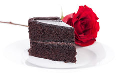 Chocolate cake and rose Royalty Free Stock Photo