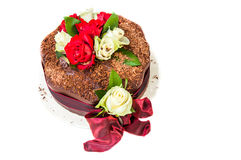 Chocolate Cake with Roses Stock Image