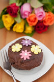 Chocolate Cake with roses Stock Images