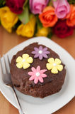 Chocolate Cake with roses Royalty Free Stock Photo