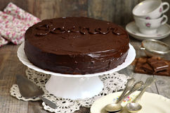 Chocolate cake ''Sacher'',austrian cuisine. Stock Photos