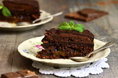 Chocolate cake ''Sacher''. Royalty Free Stock Image