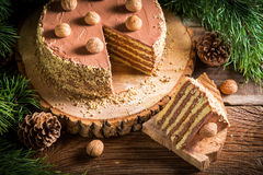 Chocolate cake served on a piece of wood from the forest Royalty Free Stock Photography