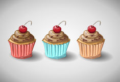 Chocolate cake set. Set of capkakes. Hand draw. Chocolate and citrus cupcake. Vector illustration Royalty Free Stock Images
