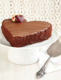 Chocolate cake in the shape of a heart Royalty Free Stock Image