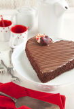Chocolate cake in the shape of a heart Royalty Free Stock Images
