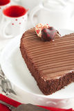 Chocolate cake in the shape of a heart. Stock Photography