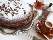Chocolate Cake on silver tray at Breakfast. Royalty Free Stock Images