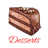 Chocolate cake sketch icon. Patisserie emblem Royalty Free Stock Photos