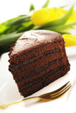 Chocolate cake slice. With yellow tulips in background stock images