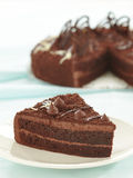 Chocolate cake slice. On white plate stock photos