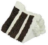 Chocolate Cake Slice. With White Cream stock photos
