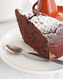 Chocolate Cake Slice at Breakfast. Royalty Free Stock Image