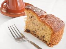 Chocolate Cake Slice at Breakfast. Stock Photo