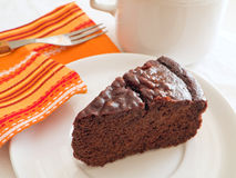 Chocolate Cake slice at Breakfast. Stock Image