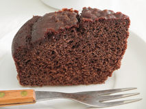 Chocolate Cake Slice at Breakfast. Stock Photo