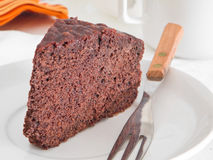 Chocolate Cake Slice at Breakfast. Stock Images