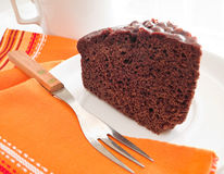 Chocolate Cake Slice at Breakfast. Royalty Free Stock Photography