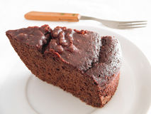 Chocolate Cake Slice at Breakfast. Royalty Free Stock Photos