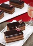 Chocolate cake slice. For Chrismast stock image