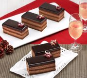 Chocolate cake slice. For Christmas royalty free stock photography