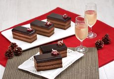 Chocolate cake slice. For Chrismast stock images
