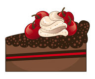 Chocolate cake slice. Tasty piece of chocolate cake with cream and cherries Stock Photography