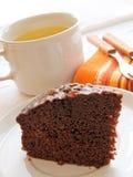 Chocolate Cake Slice on white dish. Stock Photos