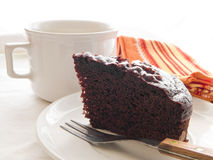 Chocolate Cake Slice on white dish. Royalty Free Stock Photos
