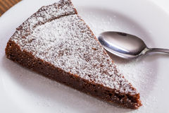 Chocolate Cake Slice on white dish Royalty Free Stock Images