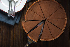 Chocolate cake sliced from above Royalty Free Stock Image