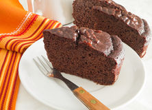 Chocolate Cake Slices at Breakfast. Stock Photography