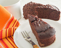 Chocolate Cake Slices at Breakfast. Royalty Free Stock Photo