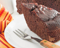 Chocolate Cake Slices at Breakfast. Stock Images