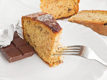 Chocolate Cake Slices at Breakfast on white dish. Stock Photos