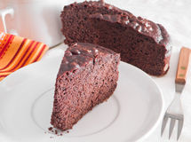 Chocolate Cake Slices on white dish at Breakfast. Royalty Free Stock Photo