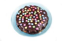 Chocolate cake with smarties Royalty Free Stock Image