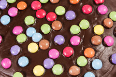 Chocolate cake with smarties Stock Photography