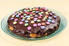Chocolate cake with smarties Royalty Free Stock Photos