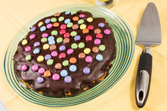 Chocolate cake with smarties Royalty Free Stock Images