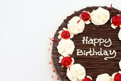 Chocolate cake, Chocolate Fudge Cake with happy birthday message. Chocolate cake with soft ganache, Chocolate Fudge Cake and happy birthday message stock photo