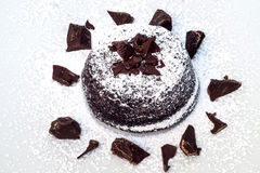 Chocolate cake with a soft heart Royalty Free Stock Photos
