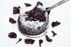 Chocolate cake with a soft heart Stock Images
